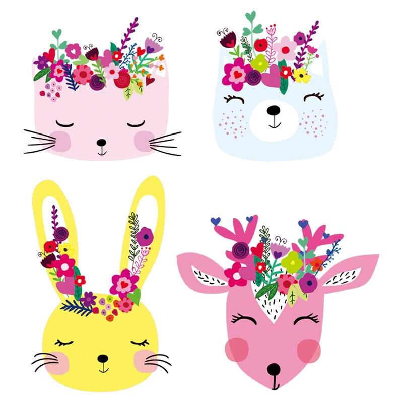 Bonitos animales, apliques, pegatinas de transferencia de calor para niños y niñas en ropa, parches de conejo, adhesivos para planchado lavables personalizados