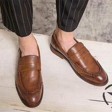 Men's Handmade Comfortable Fashion Trend Classic Fashion Business PU Brown Retro Loafers Low Heel Ca