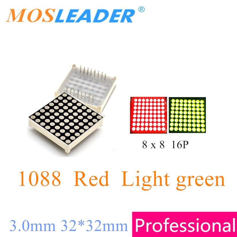 Mosleader, 100 шт., красный светильник, зеленый, 8x8, 1088, 8*8, светодиодный, решетчатый, точечный, матричный дисплей, светодиодный модуль дисплея 3,0 мм, 32...