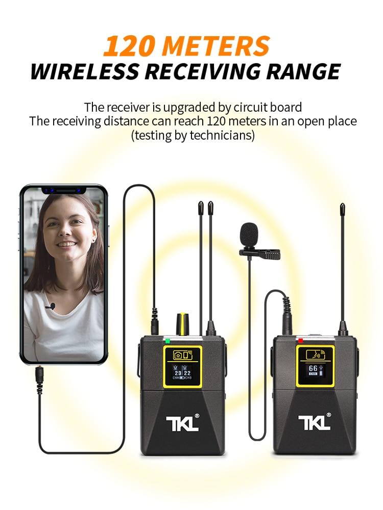 Lavalier Microphone UHF Wireless Lapel Microphone Headphone Monitor Multifunction Phone Camera Interview Recording TKL PRO WM-8 enlarge
