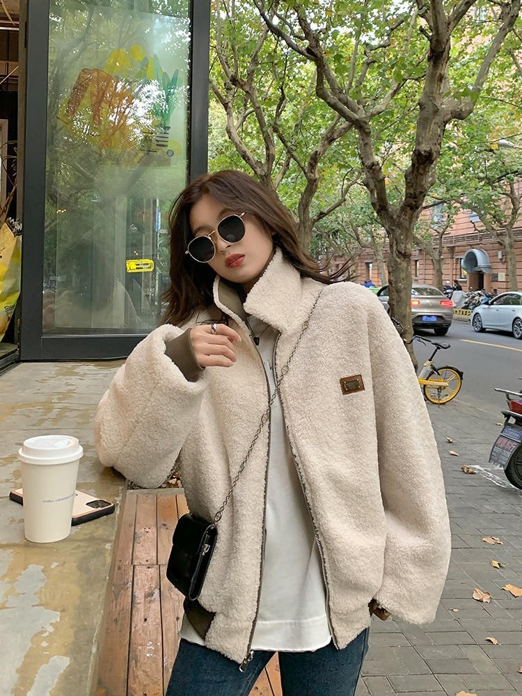 Women Trench Youth School 2021 Spring And Autumn New Style With Lamb Wool Coat On Both Sides Women's