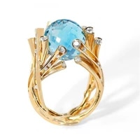 2021 milanbgirl new blue crystal ball branch ring for women anniversary party banquet holiday jewelry