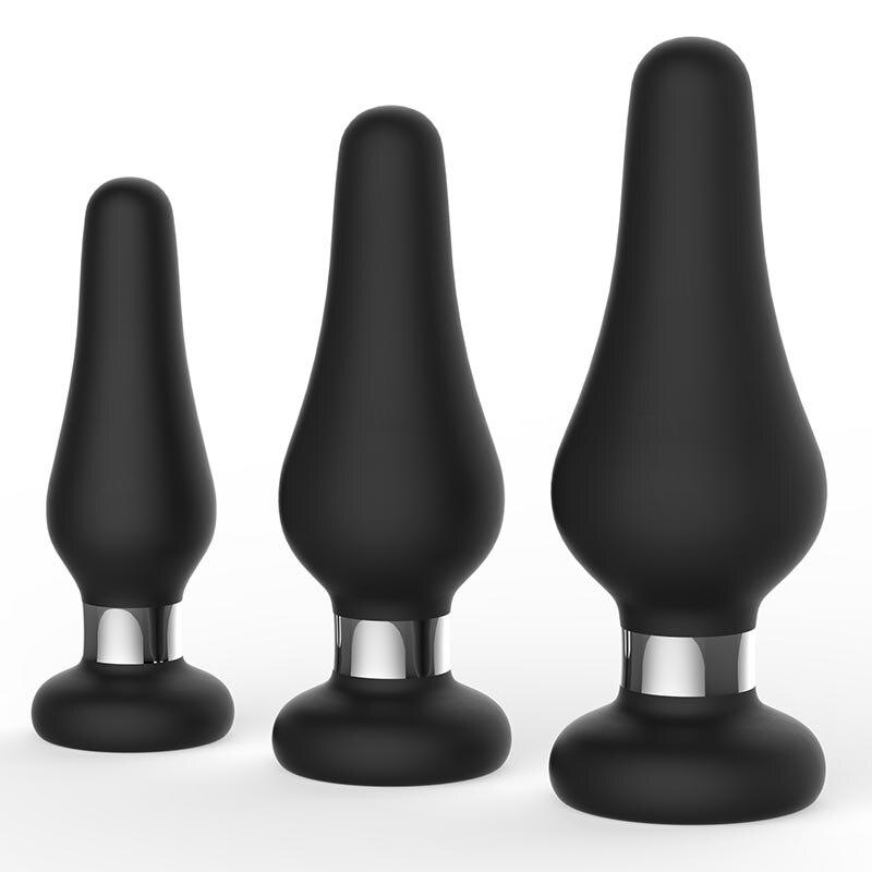 Силиконовая Анальная пробка 3 размера, анальная пробка на присоске, все секс-игрушки для пар, Анальный расширитель, товары для массажа прост...