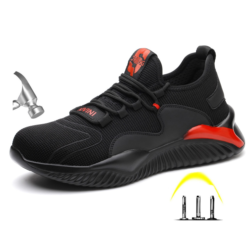 Sapatos de Segurança Proteção à Prova Botas de Trabalho Anti Smashing Masculino Punctura Indestrutível Luz Respirável Aço Toe Cap