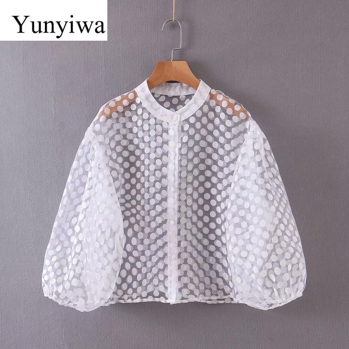 2020, camisa de manga larga con lunares para Mujer, blusa para Mujer, Blusas Vintage coreanas, Blusas, ropa, Blusas para Mujer