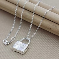 hot sale 925 silver pendant necklace for women fashion jewelry square lock necklaces