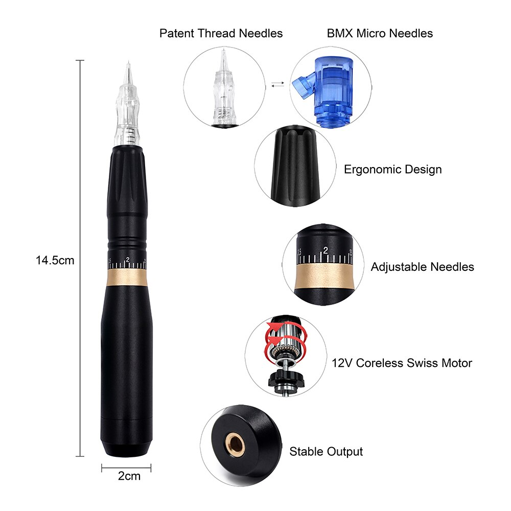 BMX PMU Machine Tattoo Pen Kit Permanent Makeup Machine Dermgrafo Agulhas Quiet Motor Easy Click Cartridge for Eyebrow enlarge
