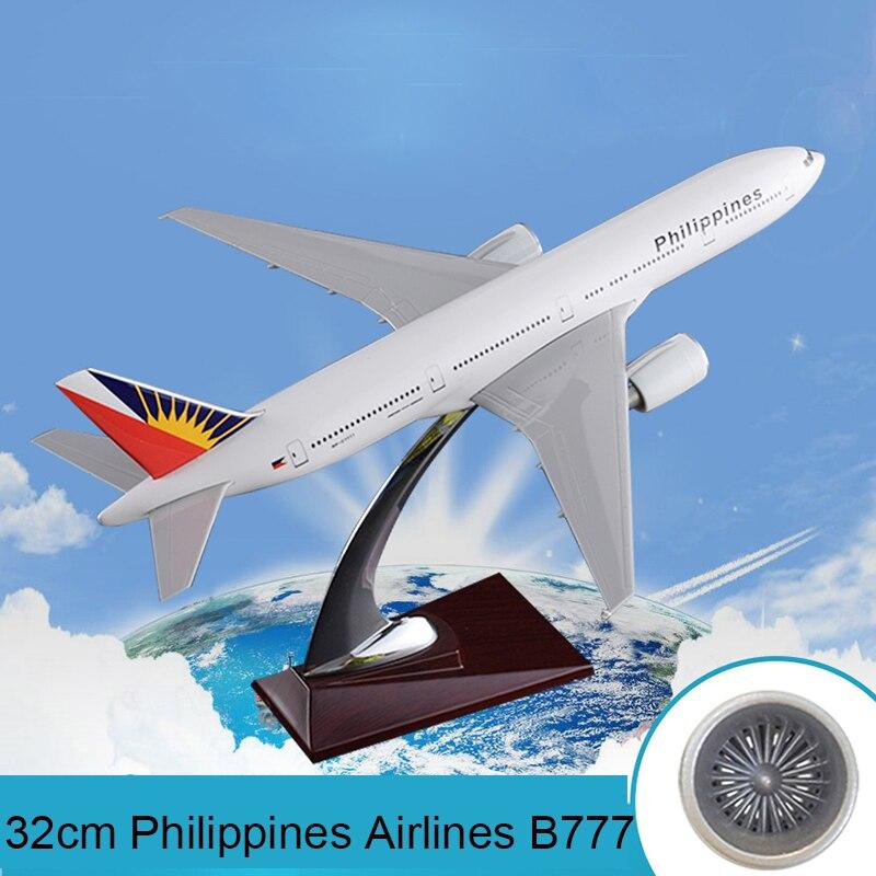32cm resina Filipinas aerolíneas Boeing 777 avión modelo B777 avión Airbus Filipinas internacional modelo de vías aéreas regalo Juguetes