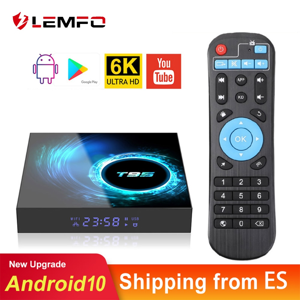 Lemfo t95 h616 smart tv box android 10 4g 64gb suporte 6k 3d youtube google play google assistente de voz andtoid 10.0 caixa de tv 2021