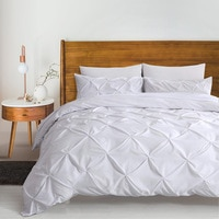 Luxury Pinch Pleated Bedding Set Cotton King Size Bed Linen Quilt Cover Set Super Soft Duvet Cover Set 3Pcs With Pillowcase