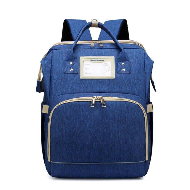 Fashion Blue Maternity Nappy Bag With USB Interface Large Capacity Waterproof Diaper Bag Kits Backpack Maternity Nursing Baby Ba