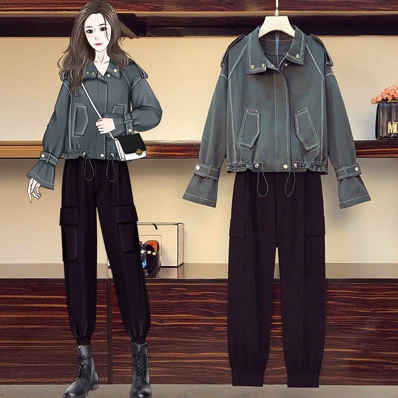 2021 herbst Neue Große Größe frauen Kleidung Mode Abnehmen Kordelzug Denim Jacke Overalls Zwei-Stück Set