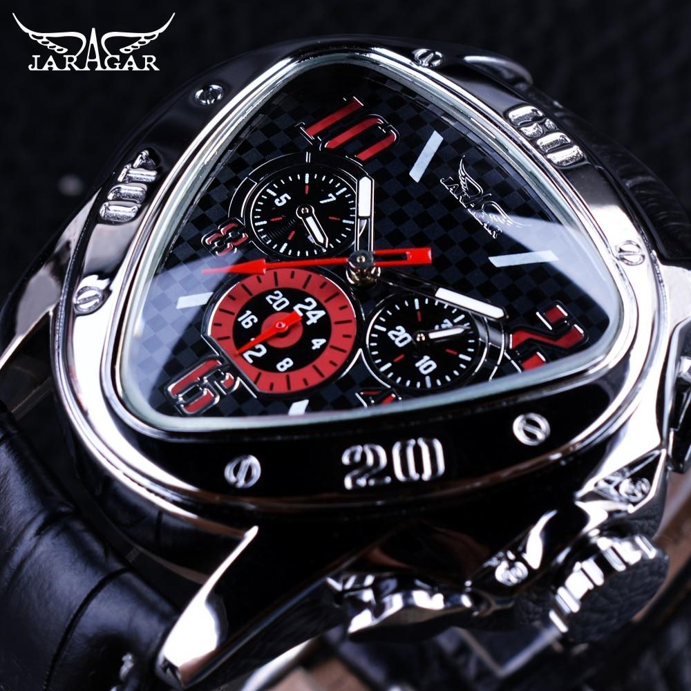 Jaragar Sport Racing Design Geometric Triangle Pilot Genuine Leather Men Mechanical Watch Top Brand