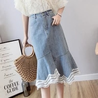 new fashion lace patchwork mermaid irregular denim skirt summer high waist ruffles pencil skirt 2020 slim hip skirt