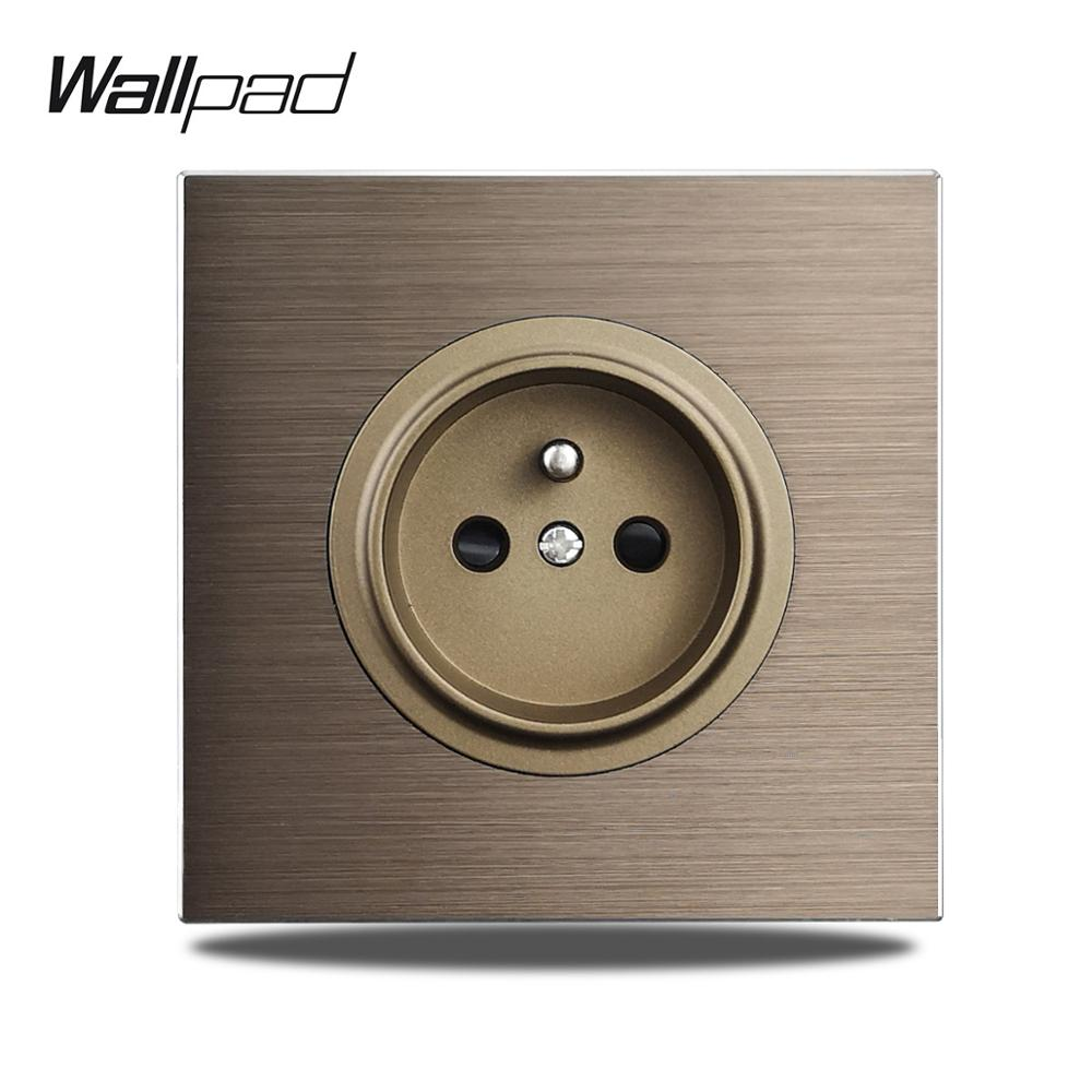 Wallpad L6-مقبس حائط كهربائي من الألومنيوم المصقول ، 86 × 86 مم ، فرنسي ، بني ، الاتحاد الأوروبي
