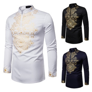 National Style Long Sleeve Men Shirt Stand Collar Slim Pullovers Zipper Tops Casual Fashion Streetwear Camisa Masculina 2019