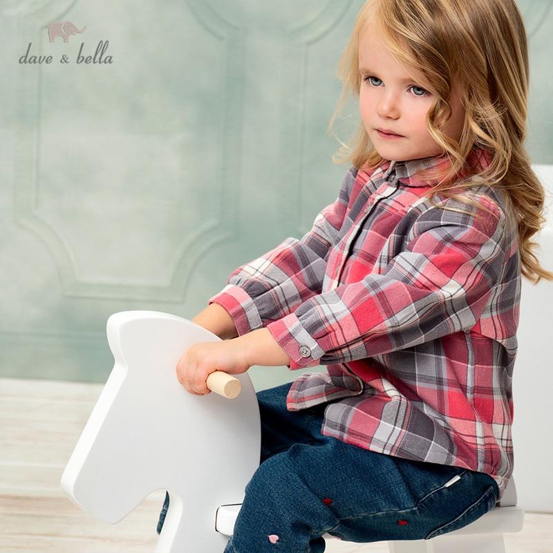 DB16147 dave bella/зимние модные рубашки в клетку для маленьких девочек; Топы для малышей; Детская одежда высокого качества|Блузки и рубашки| | АлиЭкспресс