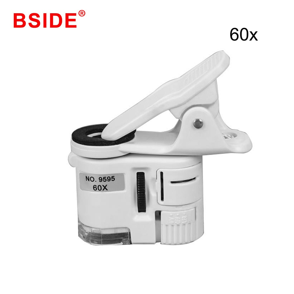 Microscopio para teléfonos móviles 60X macro lente zoom micro Cámara clip con luz led