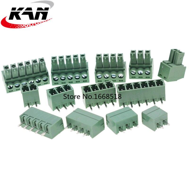 10Set 3,81 MM Pitch PCB Steckbare Blöcke Stecker 2/3/4/5/6/7/8/9/10/11/12P Gerade Pin KF15EDG-3,81 Kupfer