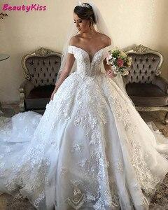 Блестящее кружевное бальное платье, свадебное платье, искусственное турецкое греческое свадебное платье с открытыми плечами, аппликация ...