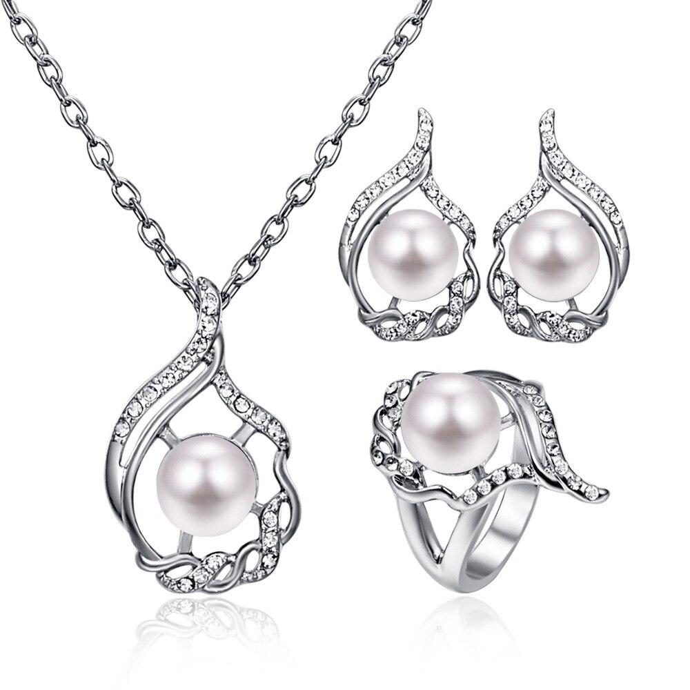 TSHOU184-طقم من ثلاث قطع من الفضة المطلية بالفضة ، مكون من ثلاث قطع ، شكل غير منتظم ، للنساء ، هدية ، رابط للمشتري