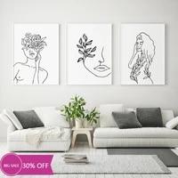 Toile de decoration de noel  affiches de peinture  image dart murale  ligne graphique abstraite feminine  pour decoration de salon  decoration de maison