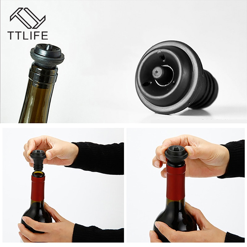 TTLIFE 1-4pcs Red Wine Vacuum Air Pump Bottle Stopper Reusable Sealer Vacuum Wine Saver Bottle Stopper Bar Supplies