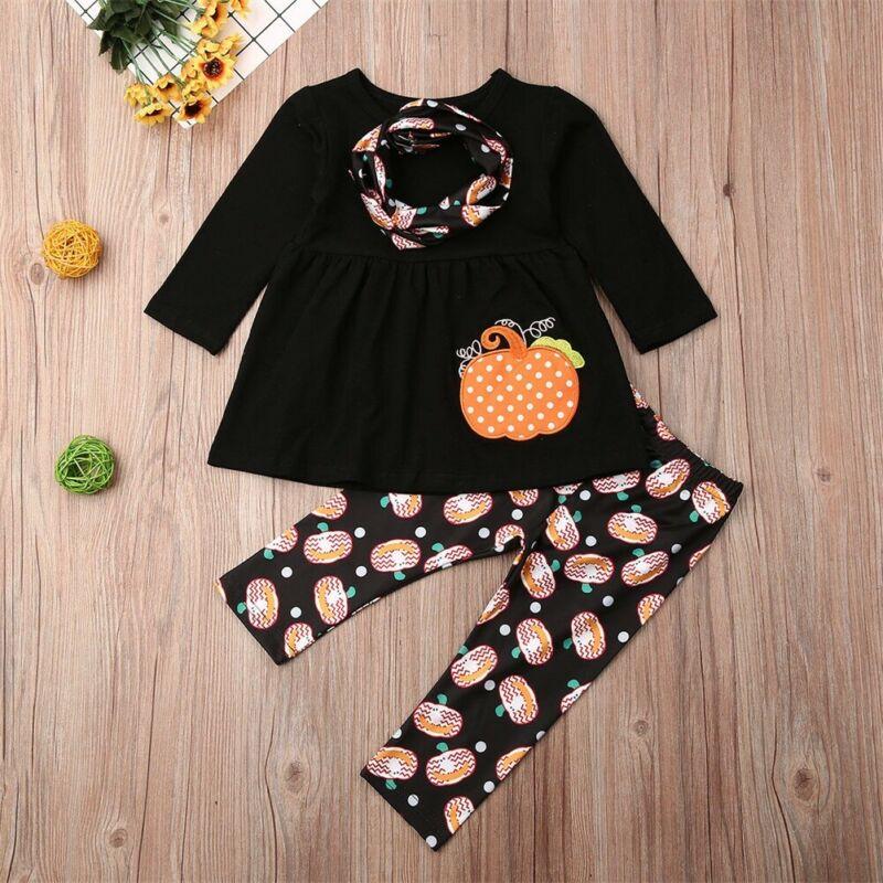 CANIS otoño Boutique niños bebé niña manga larga Halloween Top vestido pantalones Legging ropa