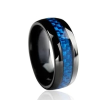 8mm wide dome black stainless steel mens ring wedding band with blue carbon fiber inlay craft jewelry accessories