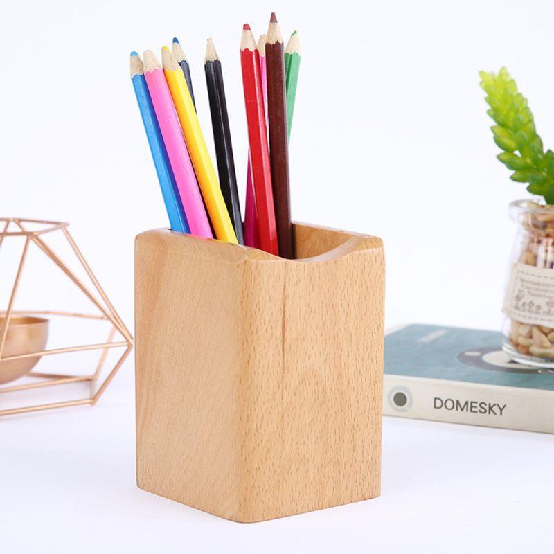 Natural Wooden Pen Pencil Holder Multiple-use Desk Organizer Storage Box Desktop