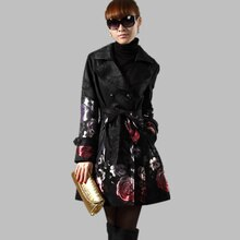 2020 Spring Autumn Floral Long Trench Coats Women Outerwear Plus Size Rose Jacquard Double Breasted