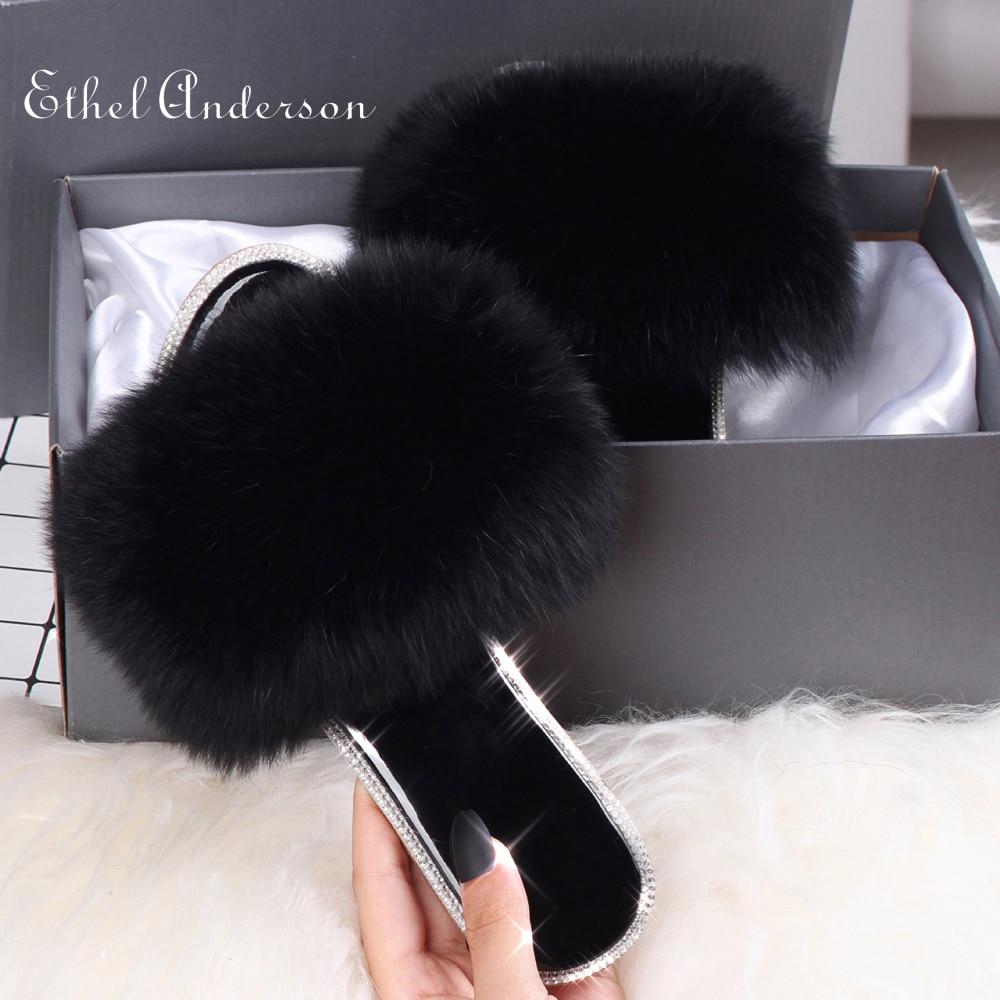 Ethel Anderson 2020 fourrure de renard diapositives réel fourrure pantoufles entièrement diapositives bascule décontracté été sandale cristal Bling concepteur pantoufles