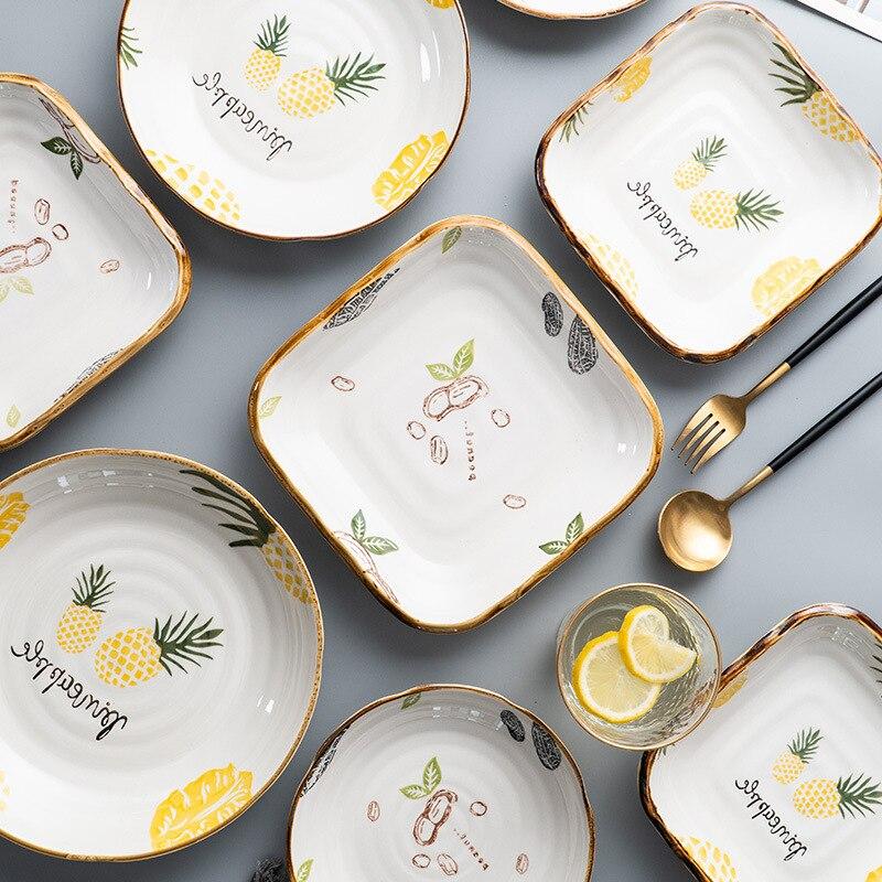 طبق عشاء السيراميك المنزلية لوحة سيراميك طبق عشاء الإبداعية أطباق فاكهه ساحة مستديرة النمط الصيني أدوات المائدة