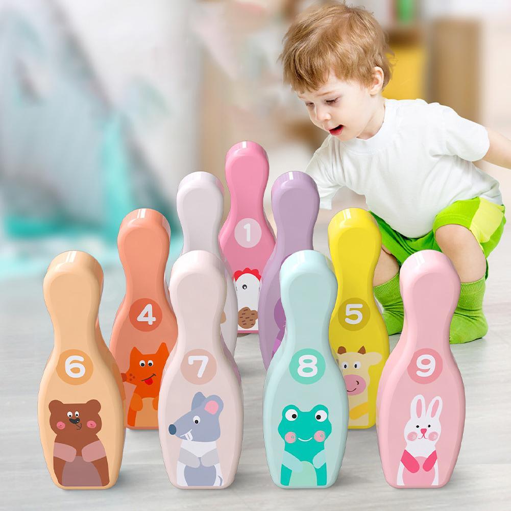 كرات البولينج الخشبية للأطفال ، ودبابيس البولينج على شكل حيوانات كرتونية ، ولعبة رياضية داخلية ، ولعبة تفاعلية ، وسطح أملس غير سام