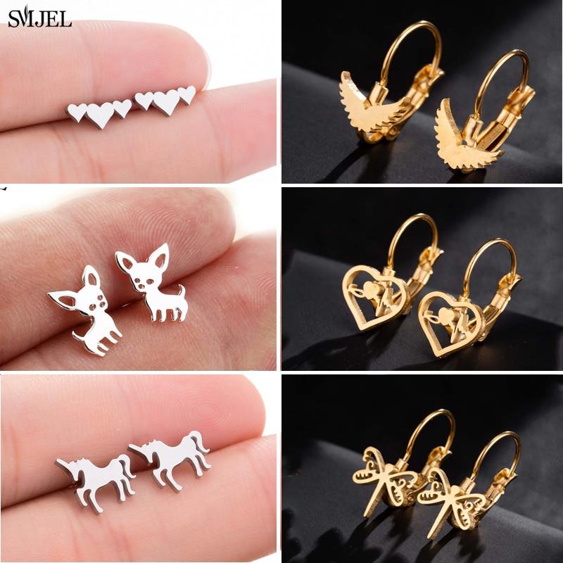 SMJEL New Fashion Heart Unircon Korean Earrings For Women Animal Dragonfly Chihuahua Gold Earring  J