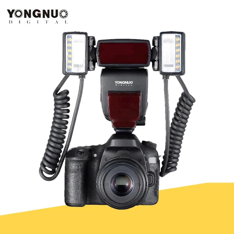 Yongnuo YN24EX E TTL ماكرو فلاش Speedlite لكانون 1Dx 5D3 6D 7D 70D 80D كاميرات مع 2 قطعة فلاش رئيس + 4 قطعة محول خواتم