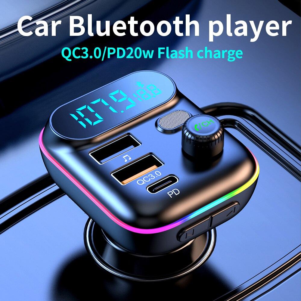 Автомобильный MP3-плеер Bluetooth FM передатчик, автомобильный мобильный телефон Зарядное устройство PD20W/USB QC3.0 Быстрая зарядка U диска музыкальный...