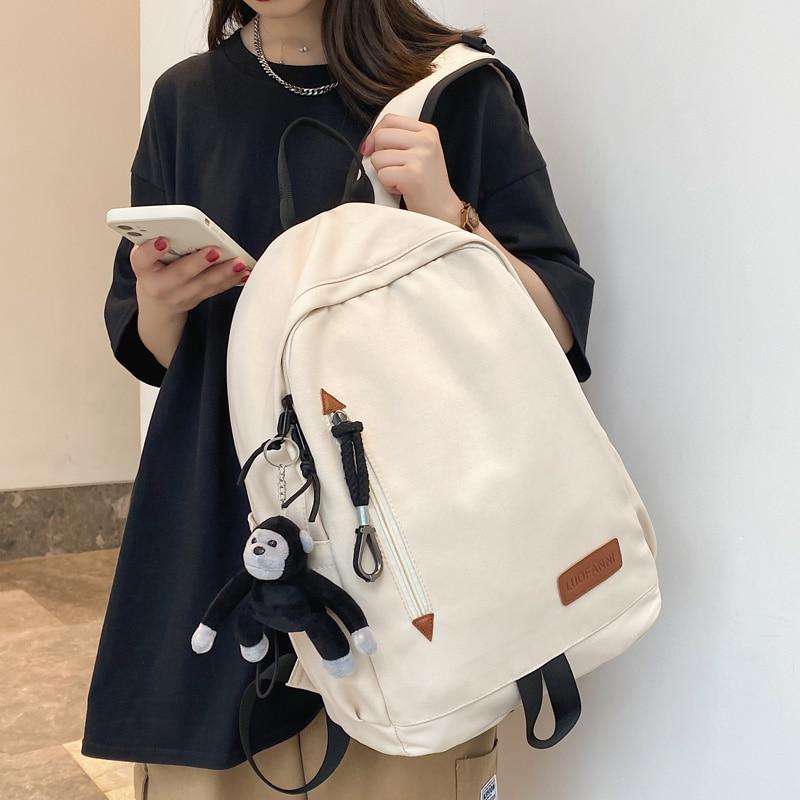 DCIMOR New Solid Color Waterproof Nylon Women Backpack Men Vertical Zipper Large Capacity Laptop Bac