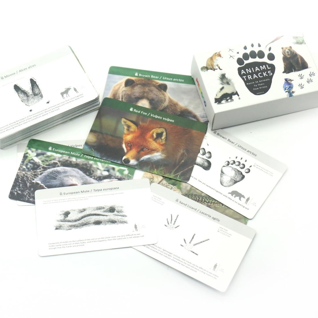 Материалы Монтессори, животные, следы, Обучающие игрушки, обучающие флеш-карты для детей, карты для матча, игрушки Монтессори E2864H