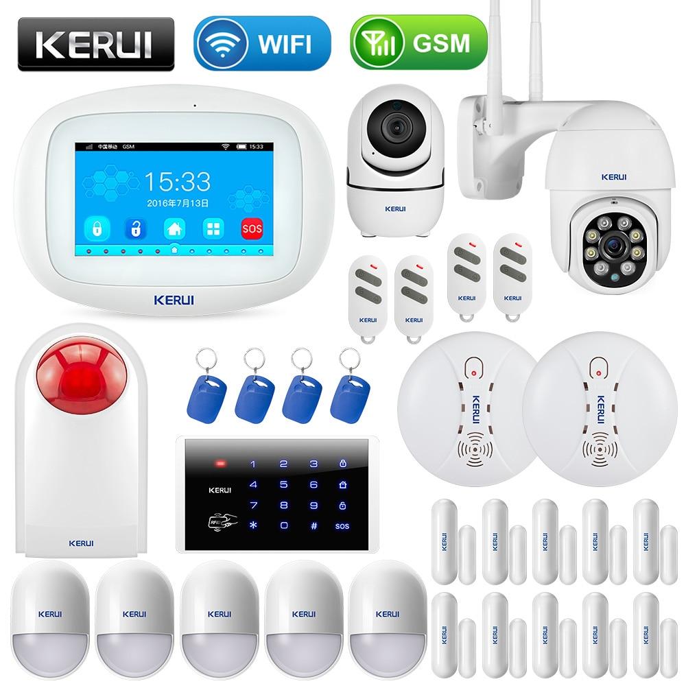 KERUI K52 Large Touch Screen Wireless GSM WIFI Home Security Alarm System Sensor Smoke Signal Device Surveillance IP Camera