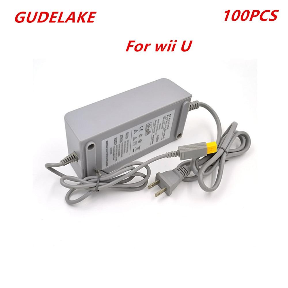 100pcs EU/US Plug AC Power Supply Adapter for Nintend Wii U Game Console