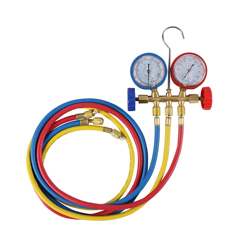 Manómetro de presión de refrigerante para uso doméstico o en coche, manómetros de colector de aire acondicionado WWO66