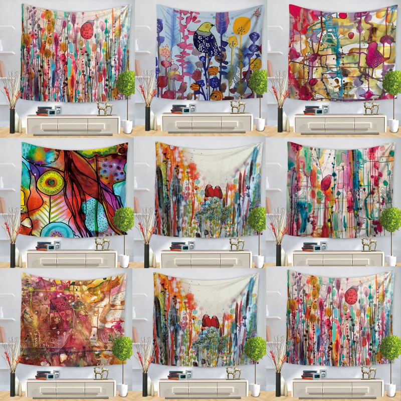 Tapiz de pared de flores de árbol colorido tapiz de pared de pájaros tapiz de Mandala bohemio Hippie tapiz para decoración del hogar de dormitorio