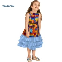 lovely girls multi layered ruffle dresses bazin riche african print dresses for kids children african style clothing wyt237