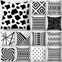 black white geometric cube letter polyester cushion cover throw pillow car home decoration sofa bed decorative pillowcase 40525