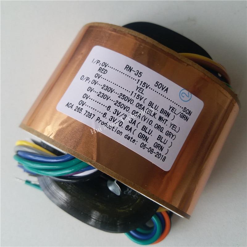 0-230V-250V 0.05A 6.3V 3.3A 6.3V 0.6A R محول بقلب حديدي عالي الجهد مخصص محول 115/115V 50VA النحاس درع الناتج مكبر كهربائي