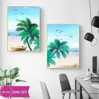 Peinture sur toile de decoration de noel  affiche de feuilles sur la plage  paysage Mural  Art Mural pour salon  decoration de maison