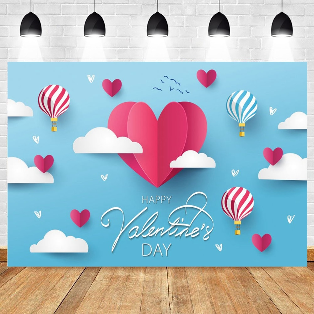 Valentines Day Background Love Heart Hot Air Balloon Cloud Vinyl Photography Backdrop Photophone Wedding Photocall