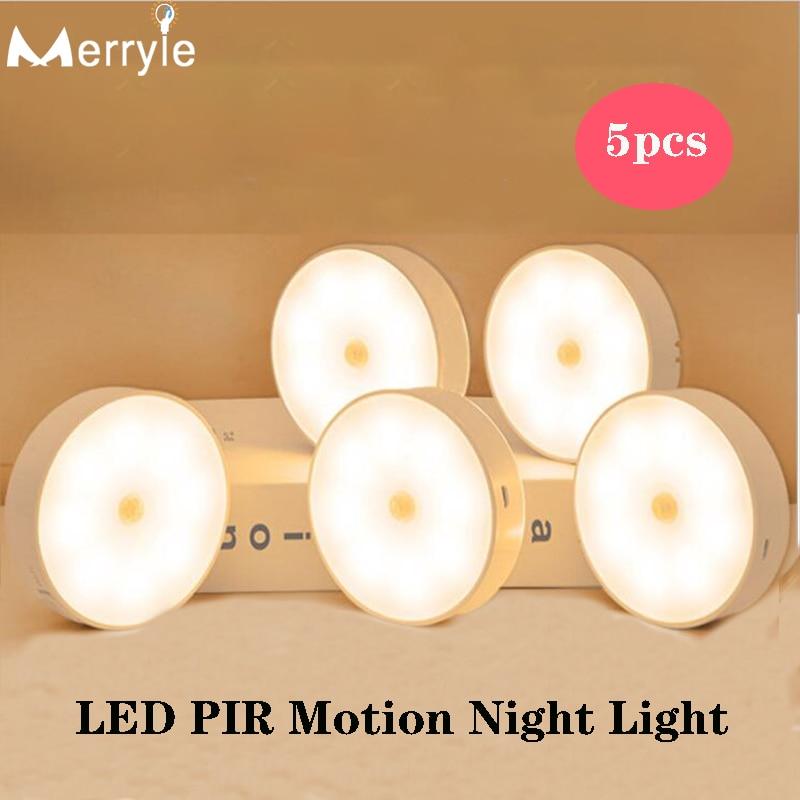 700mah USB Recharge LED PIR Infrared Sensor Night Light 8 Light Bead Cabinet Closet Wall Lamp for Home Bedroom Corridor