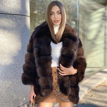 Women's Winter Fox Fur Coat Real 2021 New Trendy High  Quality Genuine Fox Fur Jacket Mid-length Lapel Collar Fur Overcoat Woman